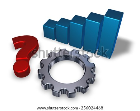 gear wheel, business graph and question mark on white background - 3d illustration - stock photo