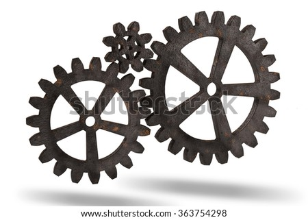 Gear wheels from rusty metal isolated on white background. Highly detail render