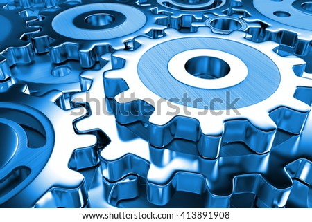gear wheels in shades of blue (3d illustration) - stock photo