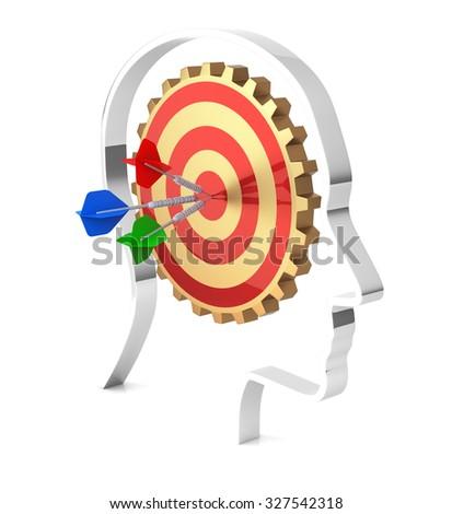 Gear Wheels Target inside Human Head. 3D rendering - stock photo