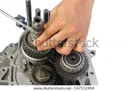 gearbox service on isolated white background - stock photo
