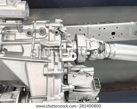 Gearbox 4WD with shaft drive - stock photo