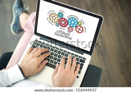 Gears and Affiliate Marketing Mechanism on Laptop Screen