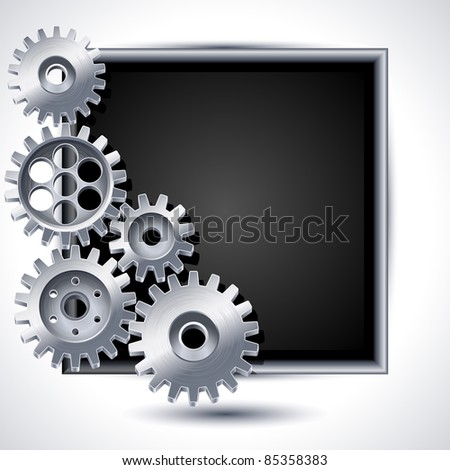 Gears and black chalkboard - raster version - stock photo