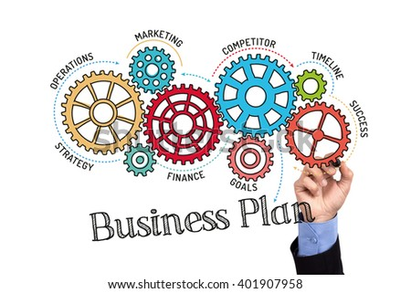 Gears and Business Plan Mechanism on Whiteboard - stock photo