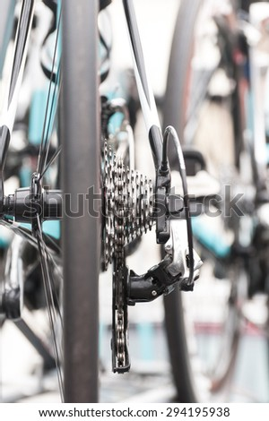 gears and chain closeup on a professional racing bicycle - stock photo