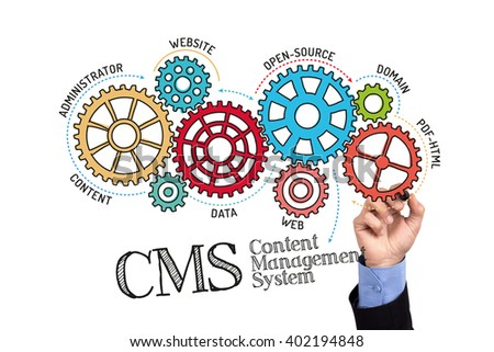 Gears and CMS Content Management System Mechanism on Whiteboard - stock photo