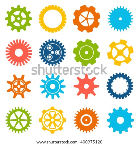 Gears and cogs icons set. Cog wheel Icon Collection. illustration of cog icons isolated on white background. - stock photo