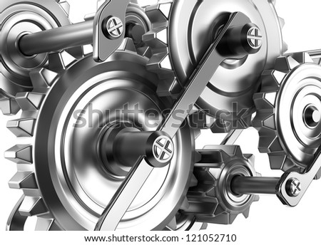 Gears and cogs working together. Reliable mechanism - stock photo