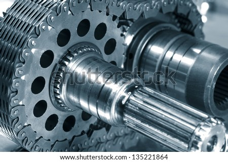 gears and cogwheel axles, used in aerospace industry - stock photo