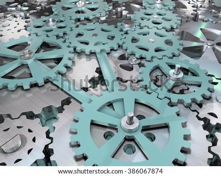 Gears and cogwheels mechanical engineering background. - stock photo