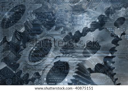 gears and computer-circuitboard, calibration technology idea - stock photo