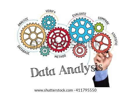 Gears and Data Analysis Mechanism on Whiteboard - stock photo