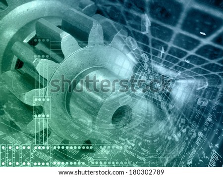 Gears and digits - abstract computer background in greens and blues.