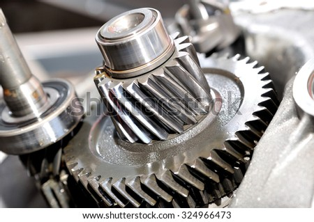 Gears and gearing from a gearbox.