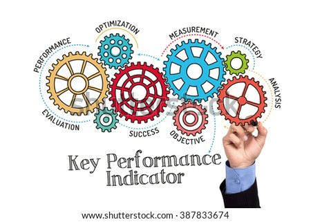 Gears and KPI Key Performance Mechanism on Whiteboard - stock photo
