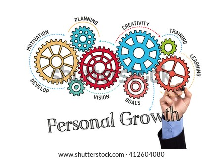 Gears and Personal Growth Mechanism on Whiteboard - stock photo