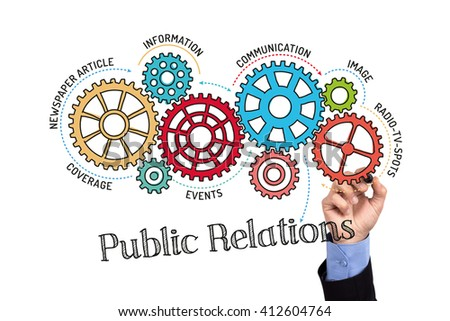 Gears and Public Relations Mechanism on Whiteboard - stock photo