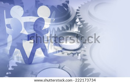 Gears and team. Teamwork concept - stock photo