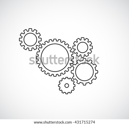 gears cogs teamwork outline design - stock photo