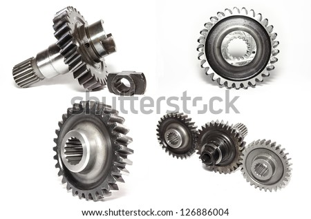 Gears collage isolated on white background - stock photo
