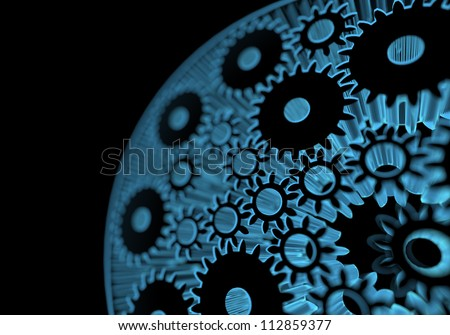 Gears (3D xray blue transparent)