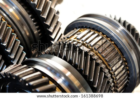 Gears from a car gearbox. - stock photo