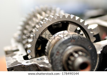 Gears from a motorcycle gearbox. - stock photo