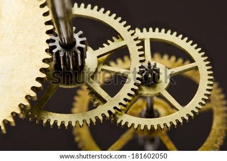 Gears. Gears mechanism, macro view - stock photo