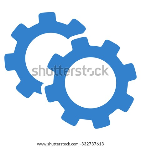 Gears glyph icon. Style is flat symbol, cobalt color, rounded angles, white background.