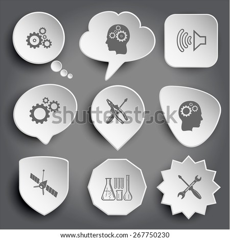 gears, human brain, loudspeaker, screwdriver and combination pliers, spaceship, chemical test tubes, screwdriver and spanner. White raster buttons on gray. - stock photo