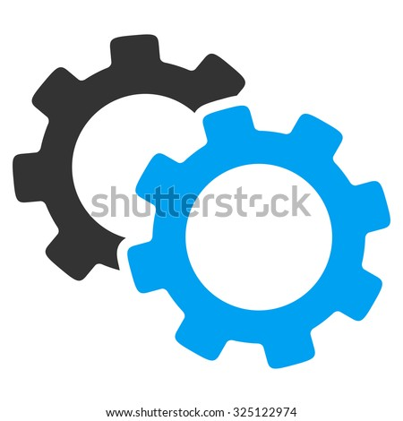 Gears illustration icon. Style is bicolor flat symbol, blue and gray colors, rounded angles, white background. - stock photo