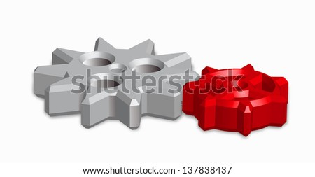 gears in 3d on white background