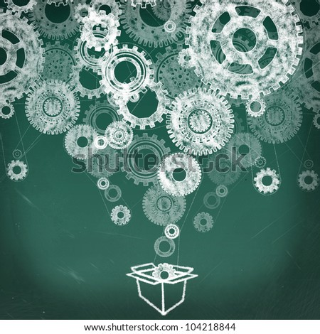 Gears in open box drawing on the chalkboard and gears all over,  thinking outside the box concept - stock photo