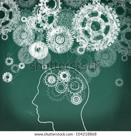 Gears in The Human Head drawing on the chalkboard and gears all over - stock photo