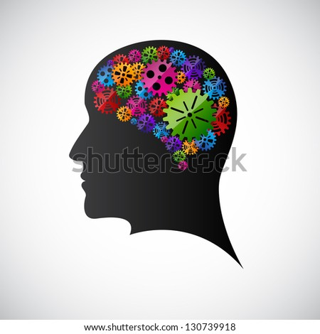 Gears in the mind profile. Raster version of the loaded vector - stock photo