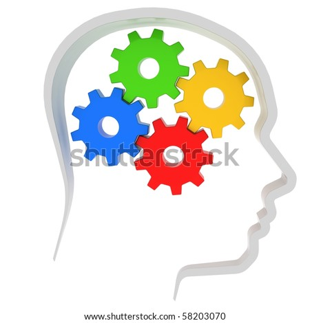 gears instead of brain in the human head - stock photo