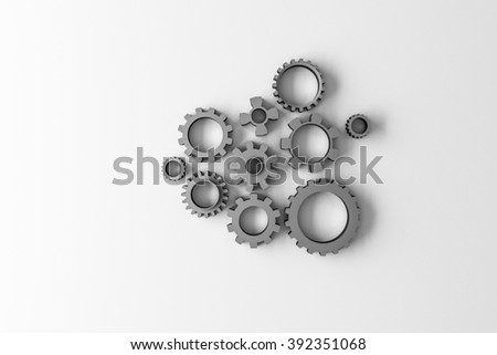 gears isolated on white background - stock photo