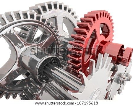 Gears isolated on white. Work concept. - stock photo