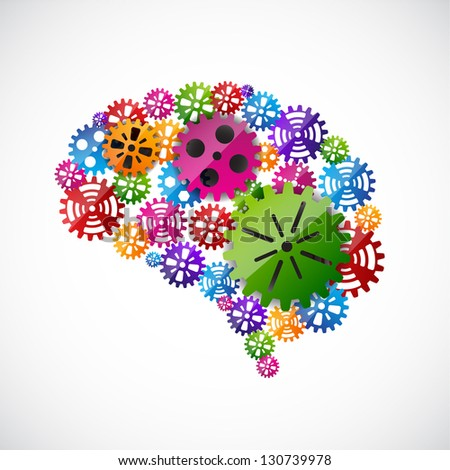 Gears mind. Raster version of the loaded vector - stock photo