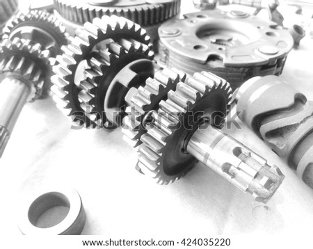 Gears of motorcycle engine. / Selective focus. / A black and white.