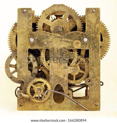 Gears of vintage mechanism - stock photo