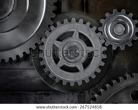 Gears on dark background. Abstract 3d illustration of gears. - stock photo