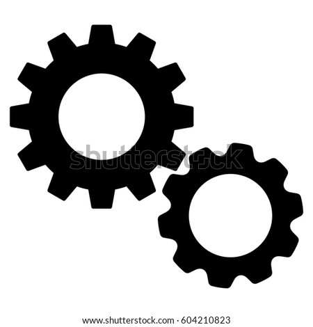 Gears raster icon. Flat black symbol. Pictogram is isolated on a white background. Designed for web and software interfaces.