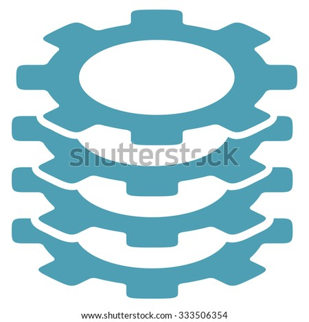 Gears raster icon. Style is flat symbol, cyan color, rounded angles, white background. - stock photo