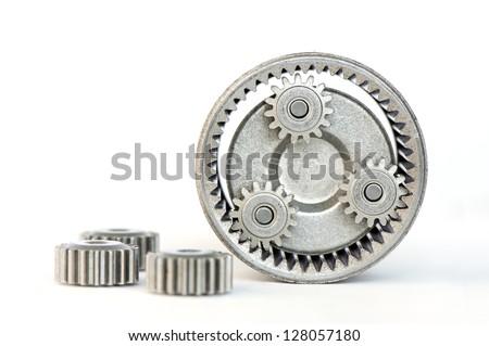 Gears revolving inside of internal gear - stock photo