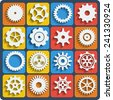 Gears shapes set, tooth wheels icons with blend shadows for web and app - stock photo