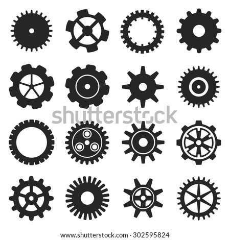 Gears shapes set, tooth wheels logo icons for web and app