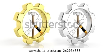 Gears,spanner,screwdriver and hammer isolated on white background - stock photo