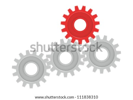 Gears Turning Together, One in Red - stock photo
